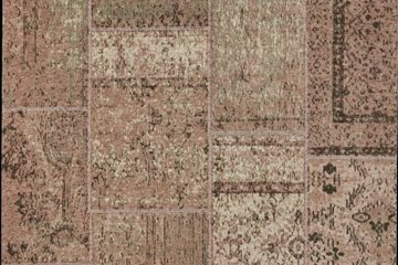 Tappeto patchwork rosa/beige